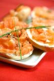 Smoke salmon with cream cheese Stock Photos