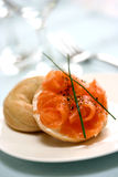 Smoke salmon with cream cheese Stock Images