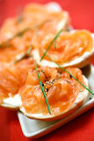 Smoke salmon on cream cheese Royalty Free Stock Images
