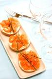Smoke salmon on cream cheese Royalty Free Stock Photography