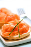 Smoke salmon and cream cheese stock images