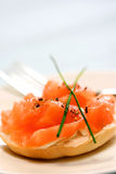 Smoke salmon and cream cheese Royalty Free Stock Photo