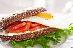 Smoke salmon, cream cheese and egg sandwich Royalty Free Stock Images