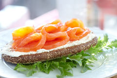 Smoke salmon and cream cheese sandwich Royalty Free Stock Photos