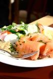 Smoke salmon on German potato cake Stock Photo