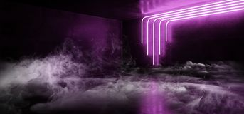 Smoke Sci Fi Blue Ultraviolet Purple Pink Futuristic Cyberpunk Glowing Retro Modern Vibrant Lights Laser Show Empty Stage Room. Hall Reflective Concrete Grunge stock illustration