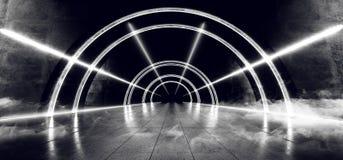 Smoke Sci Fi Futuristic Oval Concrete Grunge Circle Tunnel Corridor Led Laser Neon White Glow Shapes Alien Spaceship Steam Empty vector illustration