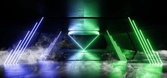 Smoke Sci Fi Neon Lights Futuristic Glowing Blue Green Laser Night Show Tunnel Corridor Reflective Concrete Alien Spaceship Shapes. Dark Background 3D Rendering stock illustration