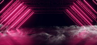 Free Smoke Sci Fi Triangle Purple Red Neon Laser Arch Beam Construction Stage Concrete Grunge Dark Empty Podium Virtual Futuristic Royalty Free Stock Photo - 159941695