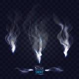Smoke set on checkered dark blue background. vector illustration. Different three smoke curls on checkered dark blue transparent background. vector illustration Stock Images