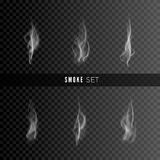 Smoke set isolated on dark background. Template of smoke. Smoke texture. Vector illustration.  Royalty Free Stock Photos