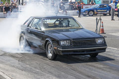 Drag racing. NHRA National Open July 12–13-14, 2015, picture of mirada car making a smoke show at the starting line Royalty Free Stock Image