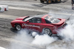 Smoke show on the track Royalty Free Stock Photo