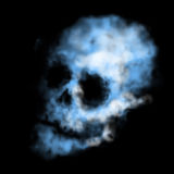 Smoke skull. Illustration of smoke skull concept, blue colors Stock Images