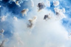Smoke in the sky during Mascleta, Valencia Royalty Free Stock Images