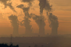 Smoke Stacks. Wintry Sunset, Over Radcliffe On Soar, coal fired power station, Nottingham Stock Photography