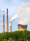 Smoke Stacks and Cooling Tower Royalty Free Stock Photos