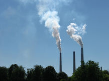 Smoke Stacks Royalty Free Stock Photography