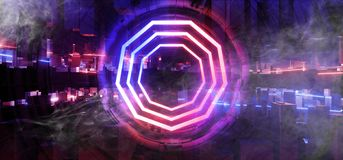 Free Smoke Stage Neon Glowing Alien Spaceship Futuristic Sci Fi Construction Purple Blue Glowing Laser Beams Fluorescent Vibrant Neon Royalty Free Stock Photos - 154691478