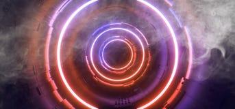 Free Smoke Stage Neon Glowing Alien Spaceship Futuristic Sci Fi Construction Purple Orange Blue Glowing Laser Beams Fluorescent Vibrant Royalty Free Stock Photo - 154692005
