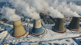 Smoke and steam from smokestacks. Industrial power plant. Contamination, pollution, global warming concept. stock video