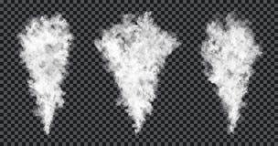 Smoke stream on transparent background. Realistic smoke texture, fog or mist effect stock illustration