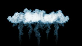 Smoke streams in slow motion. A lot of smoke flows Isolated on black background with backlit and ready for compositing stock footage