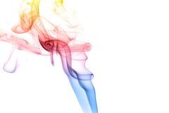 Smoke Swirl. Trail of smoke over white background Stock Photo