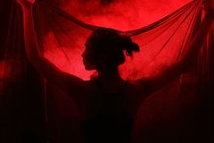 Free Smoke Tan Skin Asian Woman Black Hair Dark Lip With Dense Fluffy Stock Images - 100987044