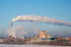 Smoke of thermal station. Frosty (cold) day. Royalty Free Stock Photos
