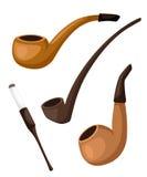 Smoke tobacco, smoking pipe, hookah. Isolated flat set of addiction, bad habits. tube cigar set Flat design style  illustrat Royalty Free Stock Image