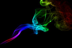 Smoke trail rainbow. An interesting smoke spiral pattern in rainbow colours Stock Photos