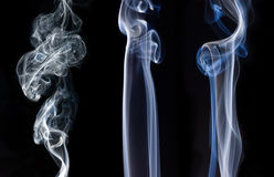 Smoke trails. Colors and shapes of three different smoke trails stock illustration