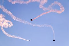 Smoke trails. From a parachute display team Stock Image