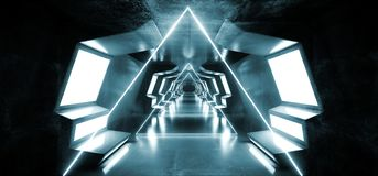 Smoke Triangle Virtual Futuristic Sci Fi Modern Glossy Metal Reflective Alien Spaceship Entrance Hallway Corridor Tunnel Dark vector illustration