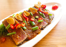 Smoke tuna spicy with salad frieze Stock Images