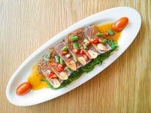 Smoke tuna spicy with salad frieze Stock Photos