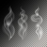 Smoke Vector illustration. Set of three different smoke waves on a translucent background Realistic style Royalty Free Stock Photo