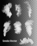 Smoke vectors on transparent background. Stock Image