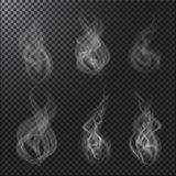 Smoke vectors on transparent background. Set of Smoke vectors on dark transparent background Royalty Free Stock Images