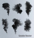 Smoke vectors on transparent background. Royalty Free Stock Photo