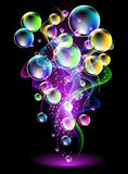 Smoke and versicoloured bubbles Stock Images
