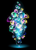 Smoke and versicoloured bubbles Royalty Free Stock Photo