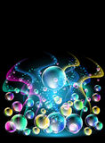 Smoke and versicoloured bubbles Royalty Free Stock Photos