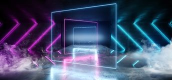 Smoke Virtual Glossy Modern Futuristic Sci Fi Dark Grunge Concrete Room With Purple And Blue Glowing Laser Neon Tube Lights On. Empty Reflective Stage royalty free illustration