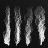 Smoke waves set on transparent background. Cigarette smoke waves, hot steam, mist Stock Image