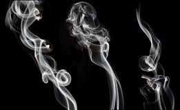 Smoke. White smoke collection on black background Royalty Free Stock Images