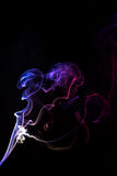 Smoke. White smoke on isolated black background Stock Photography