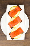 Smoke wild salmon with keta caviar Royalty Free Stock Photography