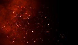 Free Smoke With Fire Embers Particles Texture Overlays . Burn Effect On Isolated Background Royalty Free Stock Photo - 140291935